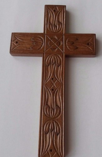Handcarved brown 8.26x4.72'' wooden cross decorative wall cross crucifix art