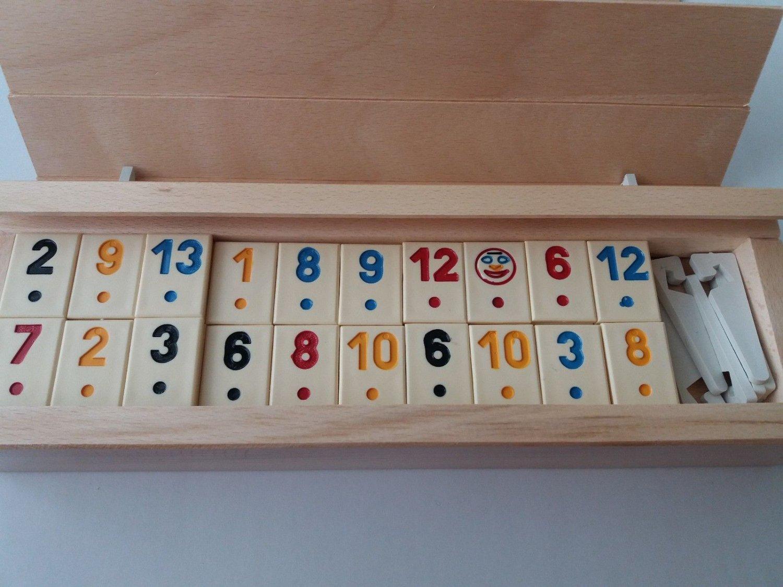 New big rummikub massive beech wood box beige piece travel family board game