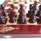 New big red chess backgammon checkers handcarved beech wood chessboard box gift