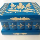 New blue special carved wooden puzzle magic storage jewelry secret trinket box