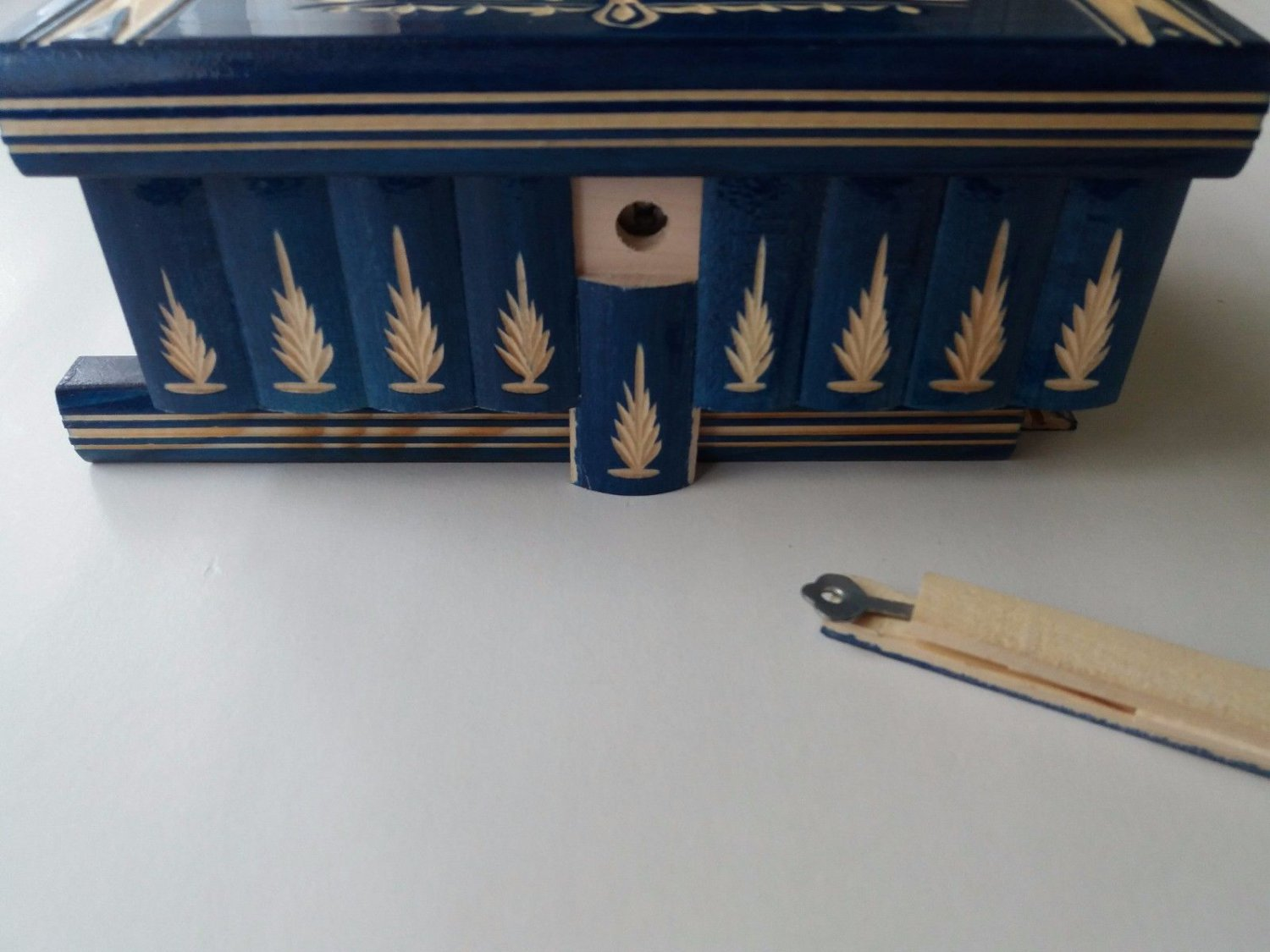 New big huge handcarved blue wooden jewelry secret magic puzzle box case gift