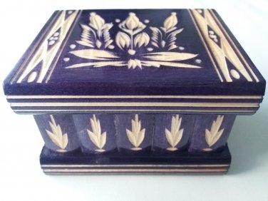 New violet handcarved wooden puzzle magic storage jewelry secret trinket box