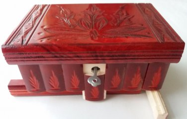 New special red handmade wooden wizard jewelry puzzle magic mystery box