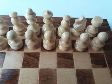 Nut brown travel game wooden chess set chess piece,beech wood chessboard box