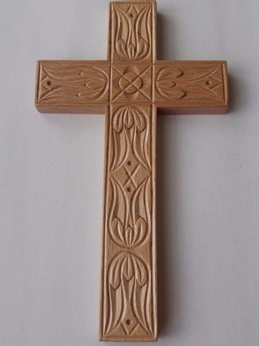Handcarved natural 8.26x4.72'' wooden cross decorative wall cross crucifix art