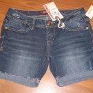 New Juniors/Jr Sz 3 Unionbay Denim Blue Jean Shorts Cuffed Back Flap Pockets