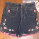 New Girls Sz 4 Gasoline Blue Jean Shorts w/Embroidered Flowers Retails $27