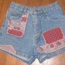 Juniors Sz 5 California Concepts Blue Jean Shorts w/Patches EUC