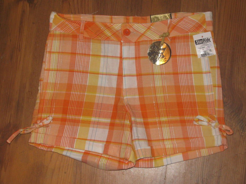New Girls Sz 12 Star Ride Orange/Yellow Plaid Shorts Retails $28