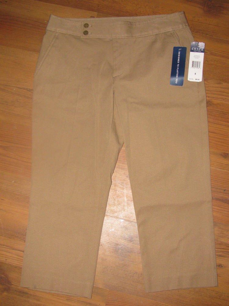 New Womens Sz 8 Chaps Tan Slimming Fit Capri Pants $60