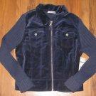 New Girls L (14) Christie Brooks Blue Front Zip Sweater Retails $43