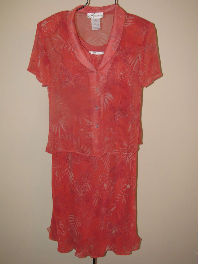 Womens Sz 8 Dressbarn Sleeveless Dress w/Short Sleeve Button Front Blouse EUC