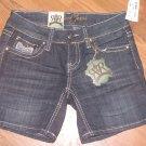 New Jr. Sz 1/25 Request Jeans Big Stitch Blue Jean Shorts w/Bling