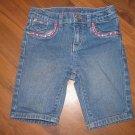 Girls Sz 5 Levi's Bermuda Jean Shorts w/Bling/Sequins/Pink Stitching EUC