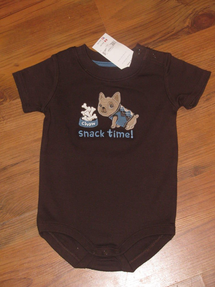"""New Baby Boys Sz. 3/6 M Gymboree """"Snack Time"""" S/S Onsie T-shirt"""