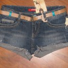 New Juniors Sz 0 Unionbay Blue Jean Short Shorts Cuffed Back Flap Pockets w/Belt