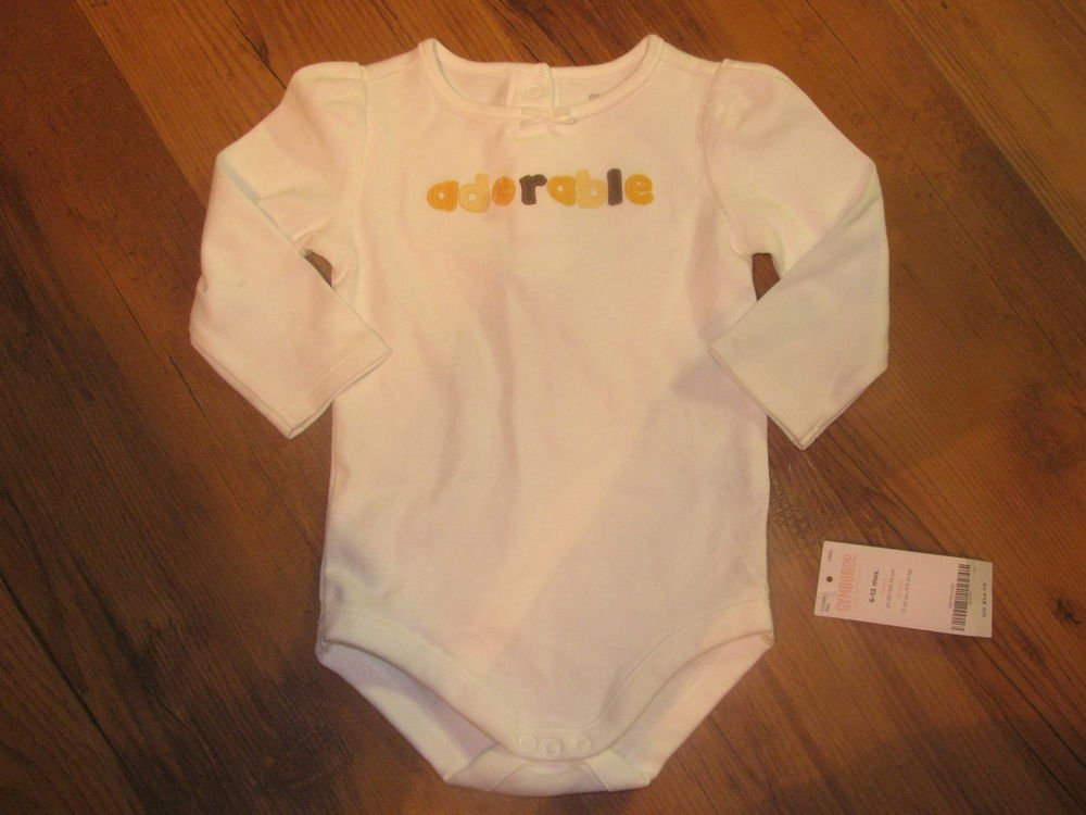"New Baby Girls 6/12 M Gymboree White L/S Top/T-Shirt/Onsie ""Adorable"""
