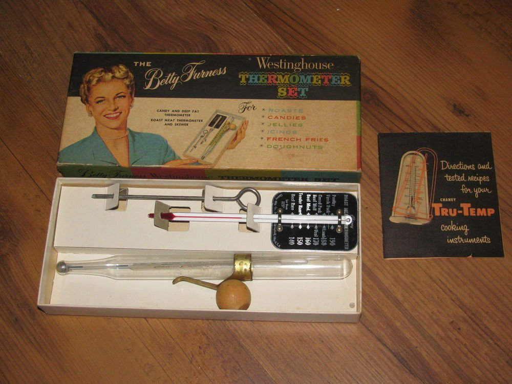 Vintage Betty Furness Westinghouse Thermometer Set w/Box Instructions