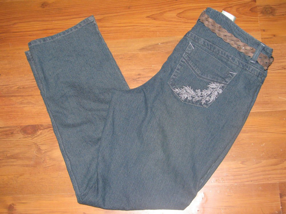 New Womens Sz 16 Sonoma Low Rise Blue Jeans Embellished Pockets Retail $48