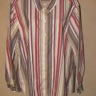 New Womens Sz 2X Lee Easy Fit Loose Through Body L/S Stripe Blouse