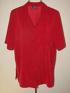 Womens Sz 14 Allison Daley Short Sleeve Red Button Front Blouse 1 Pocket EUC