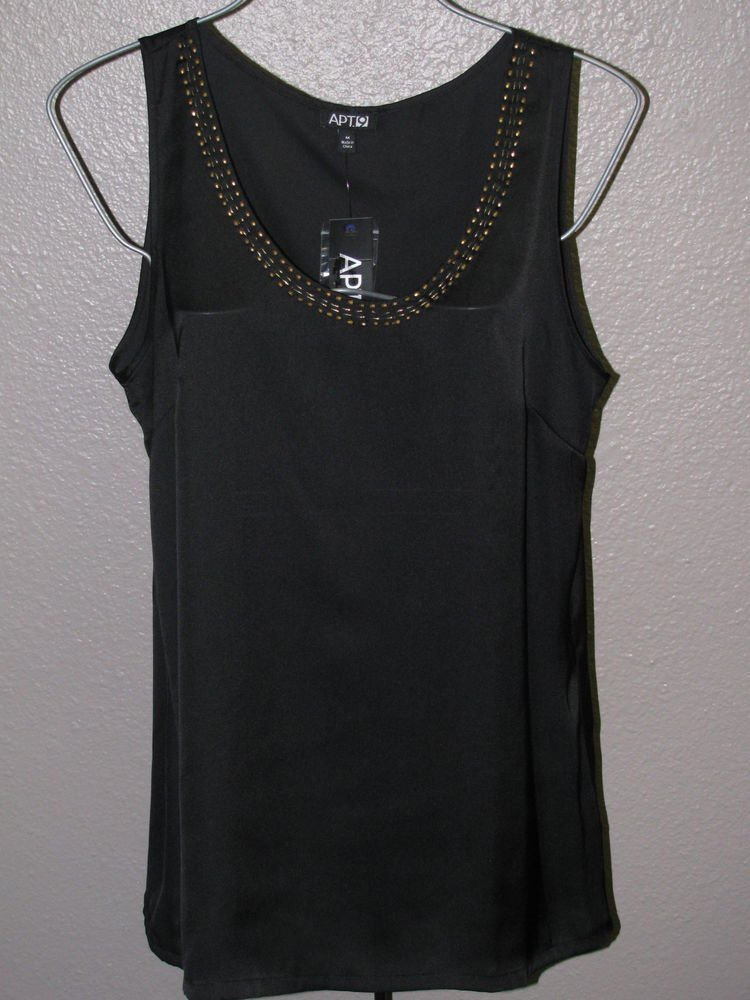 New Womens Sz M Apt. 9 Black Summer Blouse/Top/Cami Retail $36
