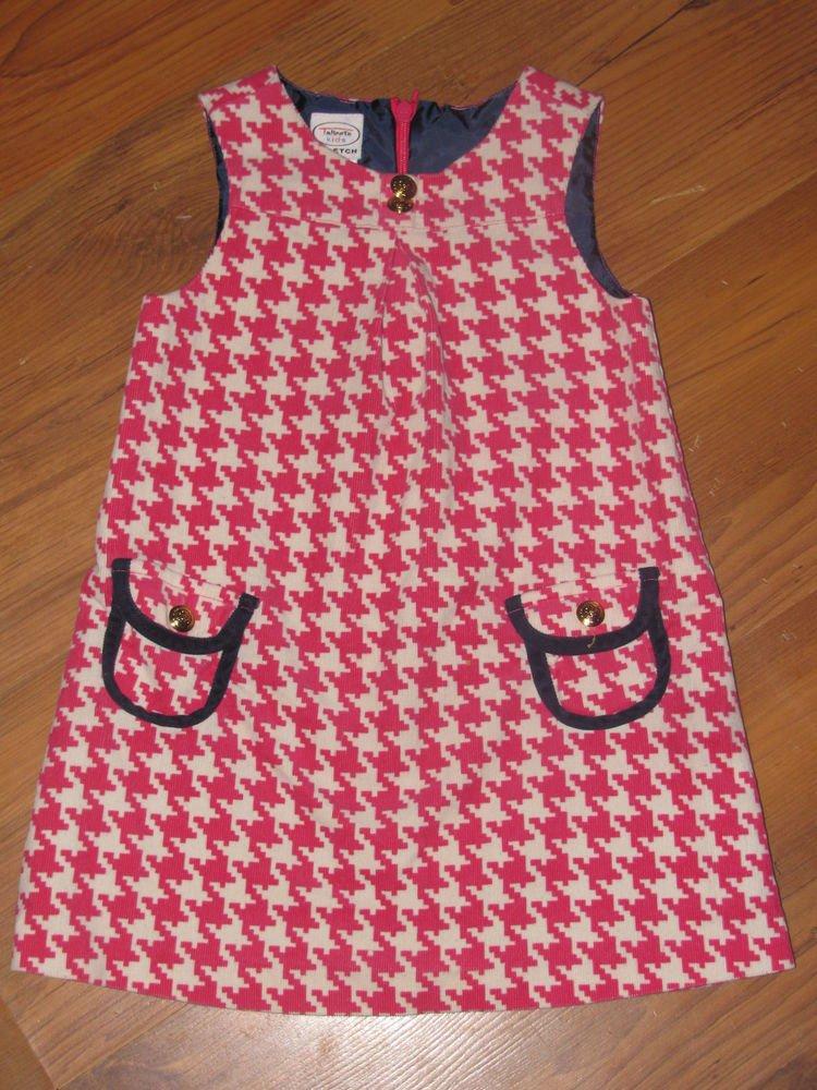 Girls Sz 2 Talbots Kids Pink/White Lined Sleeveless Dress EUC