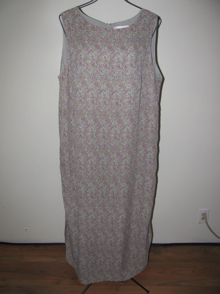 Womens Sz 18 W Casual Corner The Annex Sleeveless Lined Long Floral Dress EUC