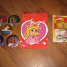 Lot 1981 Hallmark Miss Piggy Easel Back Pins, 1979 Corgi Car and Gift Bags