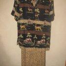 Womens Sz 16 Sag Harbor Animal Print Sleeveless Dress W/Matching S/S Blouse EUC