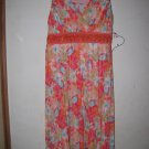 New Girls Sz 10 Orange/Fuschia Speechless Floral Sleeveless Dress Pleated Beaded