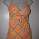 New Junior/Jr Sz M Malibu Dream Girl Orange Plaid Tankini Swimsuit