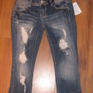 New Junior/Jr. Sz 0 Almost Famous Distressed Cuffed Capri/Crop Jeans w/Bling