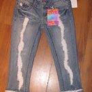 New Jr. Sz 0 Almost Famous Distressed Capri/Crop Jeans