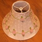 "New White Beaded Lampshade w/Pink Flowers - Base 10 1/4"" Top 4"", Height 6 1/2"""