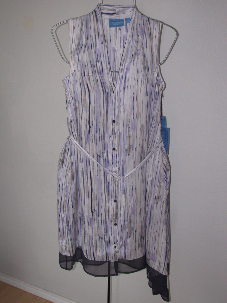 New Womens Sz S Simply Vera Vera Wang Sleeveless Purple/White Dress $68