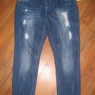New Womens Sz 18 Almost Famous Premium Distressed Skinny Blue Jeans w/Bling
