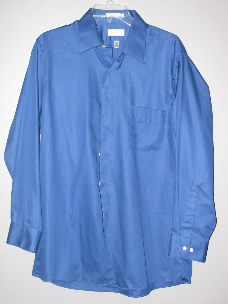 Mens Sz 16 32/33 (L) Van Heusen Blue L/S Wrinkle Free 1 Pocket Shirt EUC