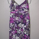New Womens Sz 12 Elle Purple Floral Spaghetti Strap Summer Dress Retail $60