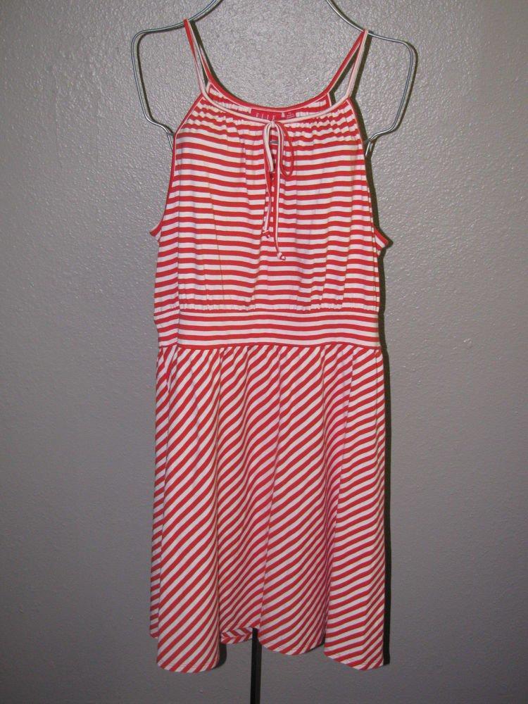 New Womens Sz XL Elle Orange Striped Spaghetti Strap Knit Summer Dress $54