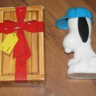 Vintage Avon Snoopy Ball Player Surprise Package White Milk Glass 1969