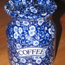 Vintage Staffordshire CALICO-BLUE (BURLEIGH) Coffee Canister England