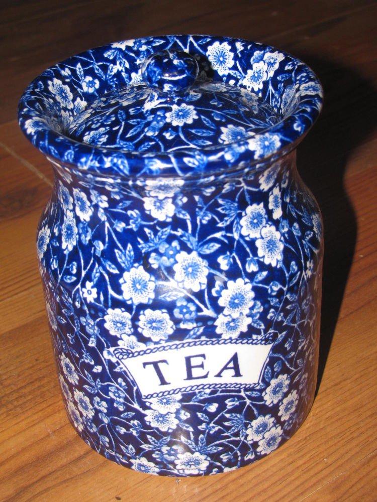 Vintage Staffordshire CALICO-BLUE (BURLEIGH) Tea Canister England