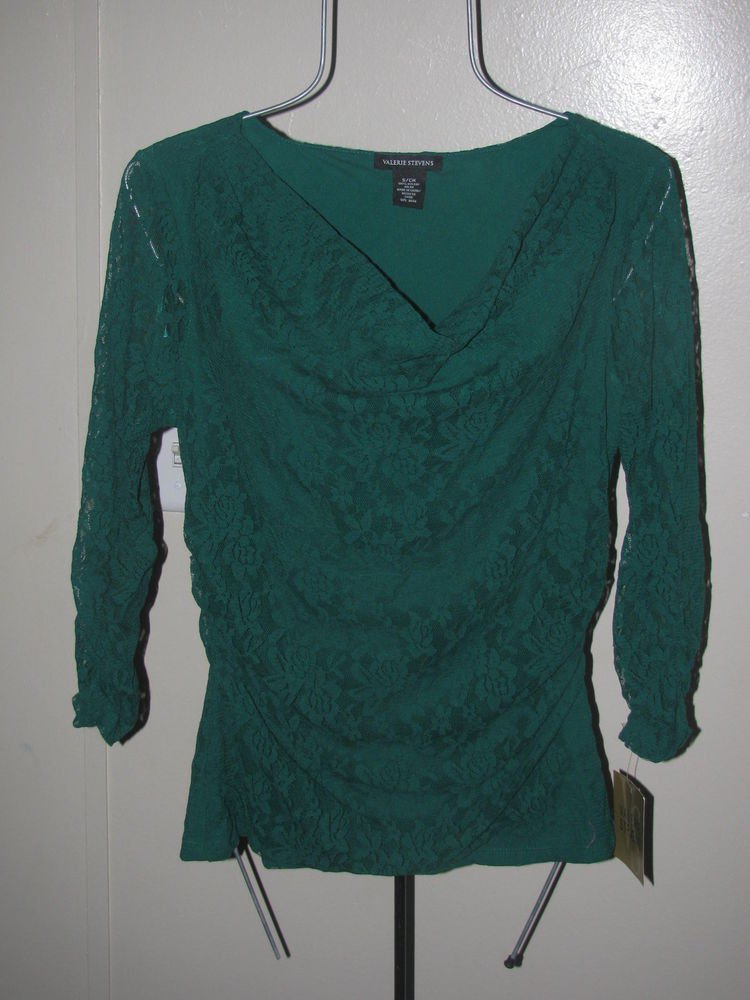 New Womens Sz S Valerie Stevens 3/4 Sleeve Green Top Retails $49
