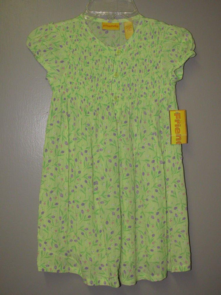 New Girls Sz 2T Friends Green Floral Cap Sleeve Dress $26