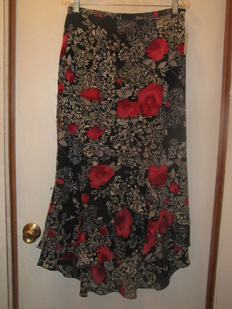 New Womens Sz XL Milano Black/Red Floral Long Skirt
