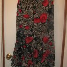 New Womens Sz XL Milano Black/Red Floral Long Skirt
