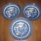 """Lot of 3 Churchill England 8"""" Vegetable Bowls - Blue Willow Pattern"""