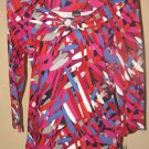 New Womens Sz S Rafaella 3/4 Sleeve Multi Color Knit Top