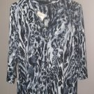 New Womens Sz M Notations 3/4 Sleeve Black/Grey/White Blouse